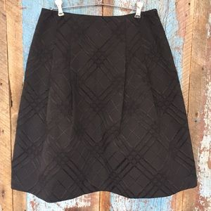 Talbots Black Flare Skirt with Velvet Pattern